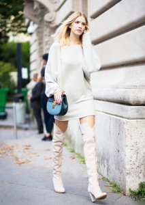 thigh high boots sweater dress