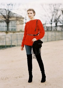 thigh high boots - jeans