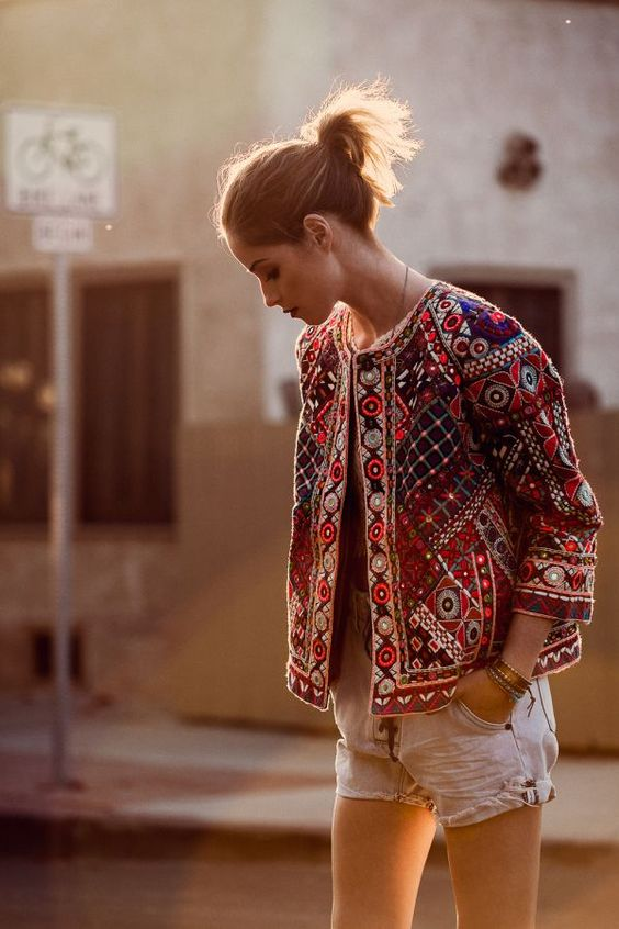 embroidered boxy blazer